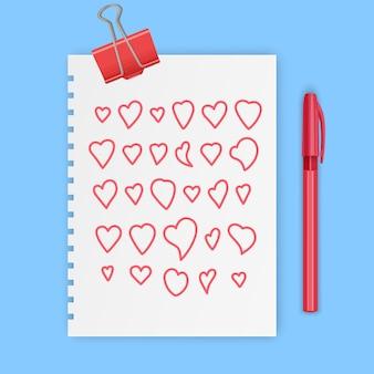 Símbolos de amor de sinal de coração desenhado à mão definir ilustração doodle ícone