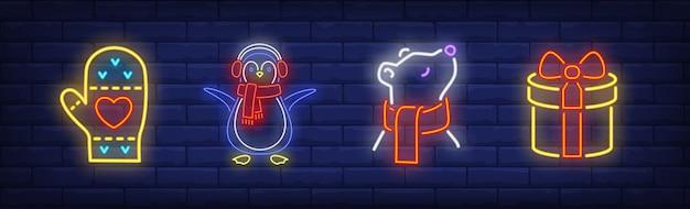 Símbolos de ano novo em estilo neon