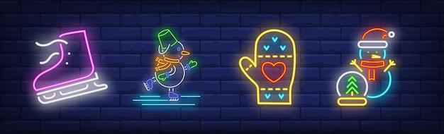 Símbolos de atividades de inverno definidos em estilo neon com boneco de neve