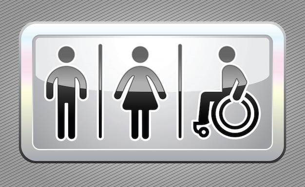Símbolos de banheiro, botão cinza grande