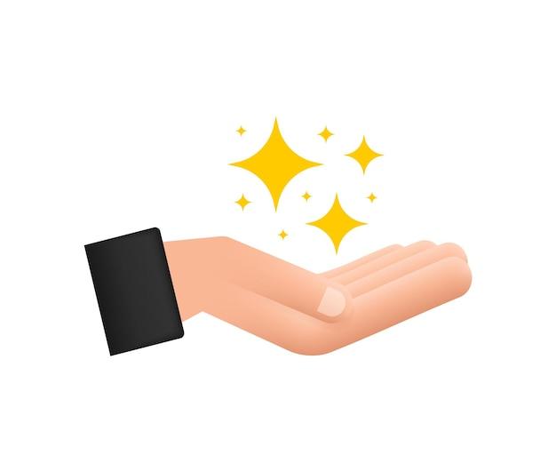 Símbolos de brilhos amarelos nas mãos o conjunto de ícone de brilho de estrelas do vetor original fogos de artifício brilhantes