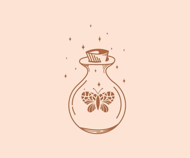 Símbolos de bruxa e jarra mágica com estrelas de borboletas de cristal e garrafa de cristal mágico de cobra da lua