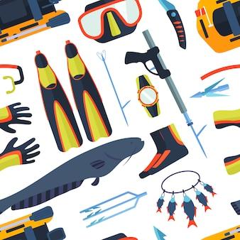 Símbolos de caça submarina marinhos com vara de pesca