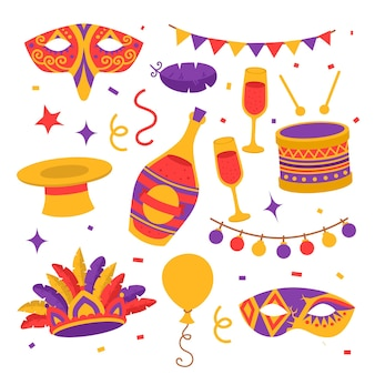 Símbolos de carnaval em cores planas, máscaras, chapéus, confetes com bandeiras, balões e tambor, garrafa de champanhe com taças