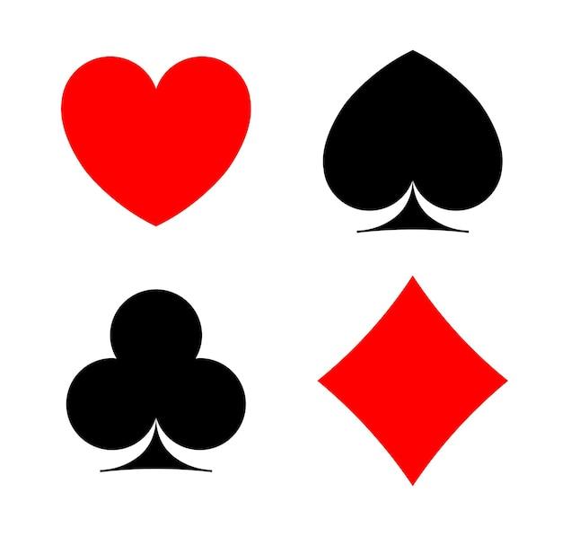 Símbolos de cartão pocker ace assinar ilustração de silhueta de casino quatro