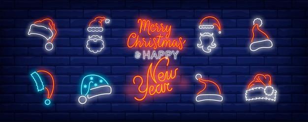 Símbolos de chapéus de natal em estilo neon