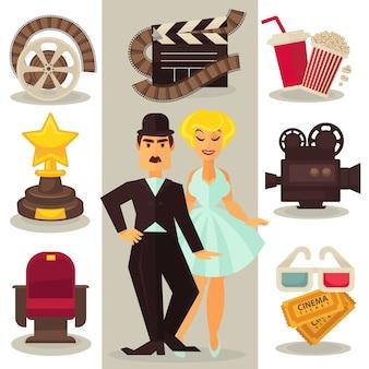 Símbolos de cinema em estilo retro.