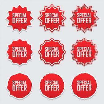 Símbolos de coleção tag ou rótulos oferta especial