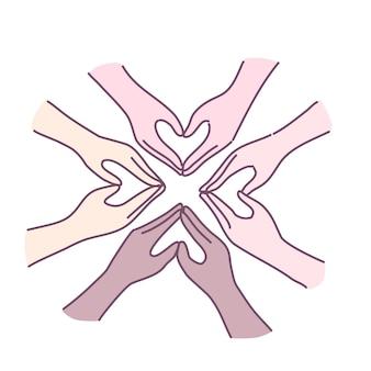 Símbolos de coração de design plano feitos à mão