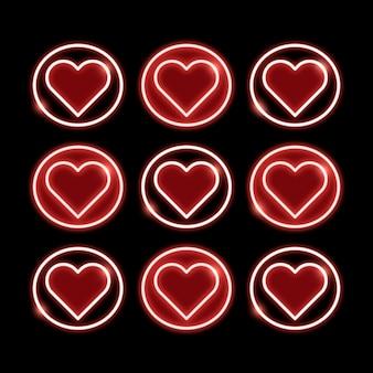 Símbolos de coração de néon