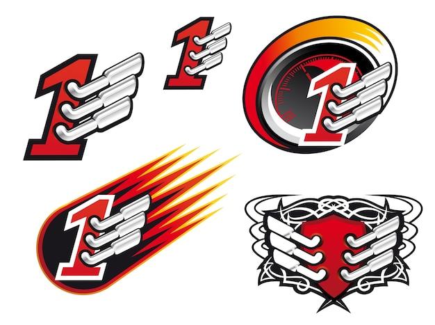 Símbolos de corrida isolados e ícones para design
