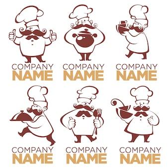 Símbolos de cozinha, silhuetas de comida e chef, imagens de coleção para seu logotipo, etiqueta, emblemas