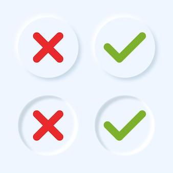Símbolos de cruz e de marca de seleção redondos no estilo de neumorfismo.