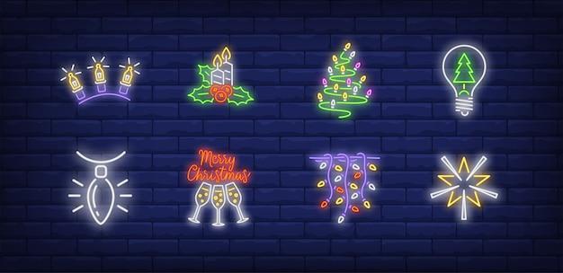 Símbolos de decoração de ano novo em estilo neon