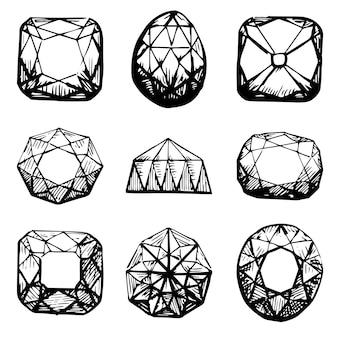 Símbolos de diamante. gemas pretas isoladas no fundo branco. ilustração vetorial.
