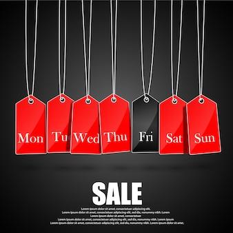 Símbolos de dias da semana e promoções de sexta-feira negra