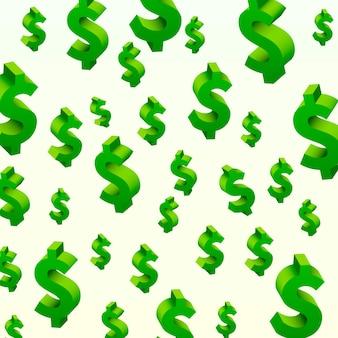 Símbolos de dólar voando sobre o fundo cinza. ilustração vetorial