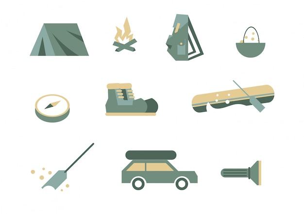 Símbolos de equipamento de campismo.