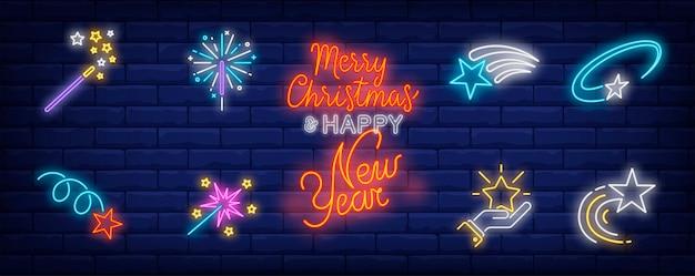 Símbolos de estrelas festivas em estilo neon
