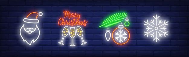 Símbolos de férias de inverno definidos em estilo neon