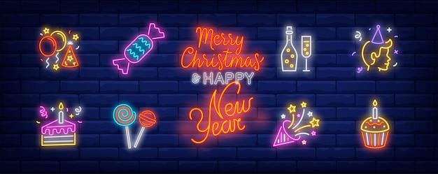 Símbolos de festa de aniversário em estilo neon