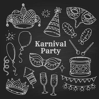 Símbolos de festa de carnaval em estilo doodle em fundo preto, coleção de elementos de carnaval