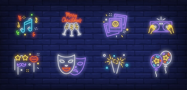 Símbolos de festa de natal em estilo neon