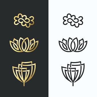 Símbolos de flores de linha, formas douradas e monocromáticas.