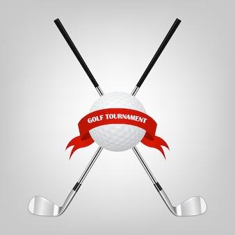 Símbolos de golfe para seu projeto - bola e tacos de golfe com fita.