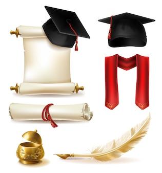 Símbolos de graduação de alta educação realista vector conjunto com cap mortarboard e cachecol