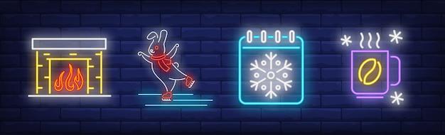 Símbolos de horário de inverno definidos em estilo neon