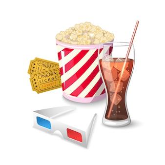 Símbolos de ícone de coleção em assistir filmes no cinema
