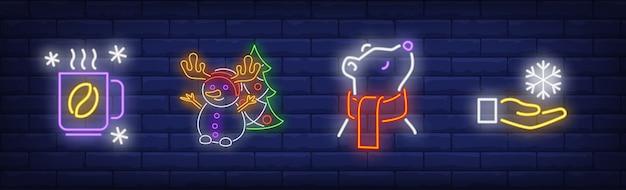 Símbolos de inverno definidos em estilo neon com café quente
