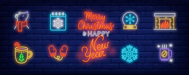 Símbolos de inverno definidos em estilo neon com lareira