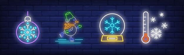 Símbolos de inverno definidos em estilo neon