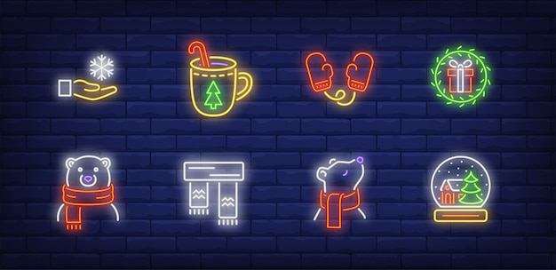 Símbolos de inverno em estilo neon com urso polar no lenço
