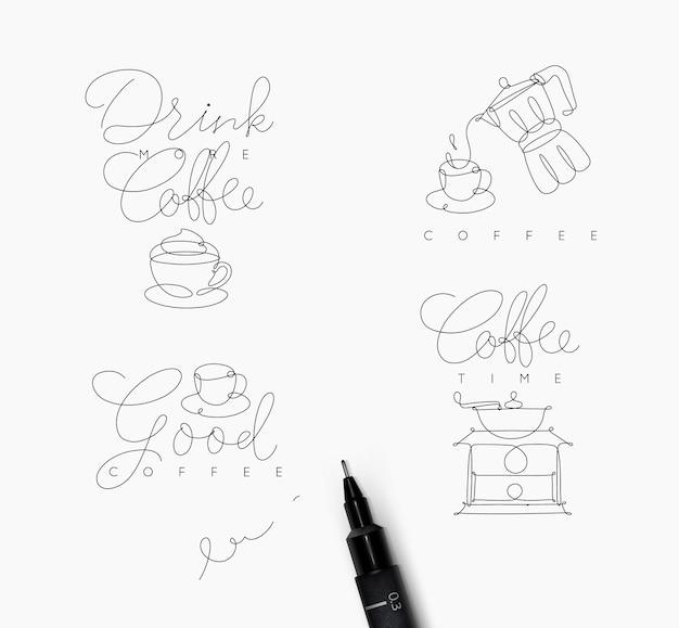 Símbolos de linha de caneta de café