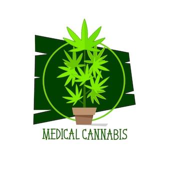 Símbolos de linha verde de vetor de planta de maconha em fundo branco para site de serviços de saúde de maconha medicinal para empresas comerciais