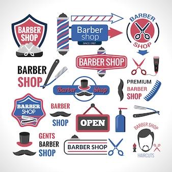 Símbolos de loja de barbeiro assina coleção de rótulos
