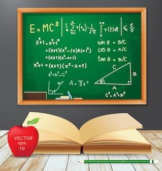 Símbolos de matemática emc2 desenhos de lousa com livro aberto