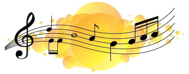 Símbolos de melodia musical em mancha amarela