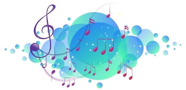 Símbolos de melodia musical em mancha azul brilhante