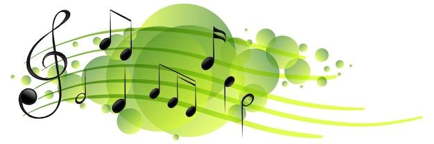 Símbolos de melodia musical em mancha verde