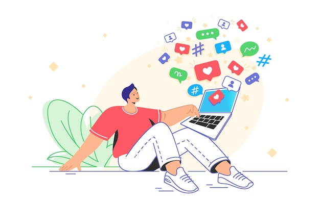 Símbolos de mídia social e vício digital para passar o tempo com alegria. ilustração em vetor plana de um homem sorridente sentado com um laptop para bater papo nas redes sociais, postar novamente e conseguir mais curtidas