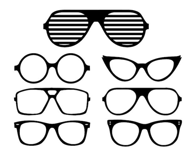 Símbolos de moldura preta de óculos de vetor