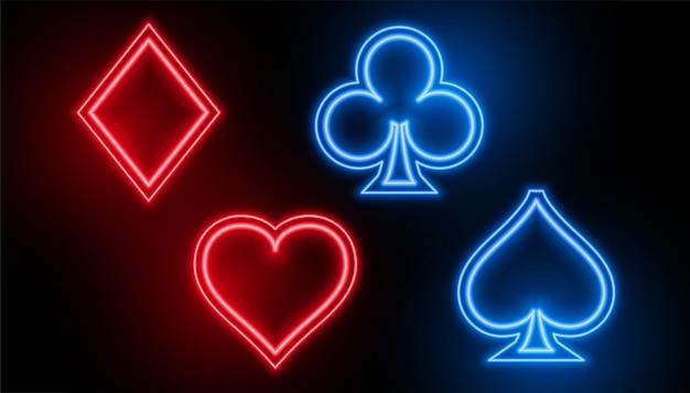Símbolos de naipe de cartas de cassino em cores neon