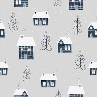 Símbolos de natal e ano novo escandinavo mão desenhada sem costura padrão. impressão fofa de vetor. papel digital. elemento de design.