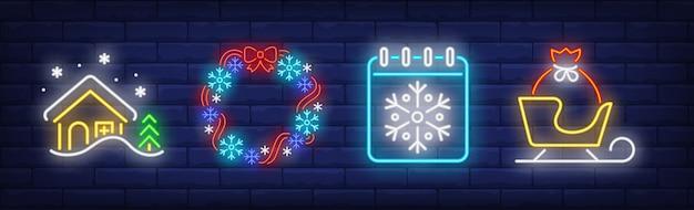 Símbolos de natal em estilo neon
