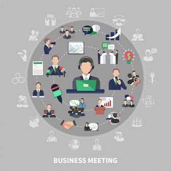 Símbolos de negócios redondo composição