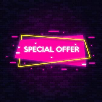 Símbolos de néon banner oferta especial